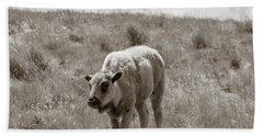 Bath Towel featuring the photograph Baby Buffalo In Field With Sky by Rebecca Margraf