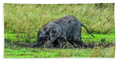 Baby Elephant Playing In The Mud Hand Towel