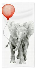 Baby Elephant Watercolor Red Balloon Hand Towel