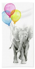 Baby Elephant With Baloons Hand Towel