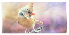 Baby Female Cardinal In Springtime Bath Towel by Janette Boyd