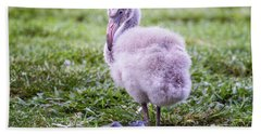 Baby Flamingo Sitting Bath Towel by Stephanie Hayes