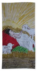 Hand Towel featuring the painting Baby Jesus At Birth by Kathy Marrs Chandler