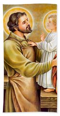 Baby Jesus Talking To Joseph Bath Towel