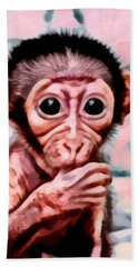 Baby Monkey Realistic Hand Towel by Catherine Lott
