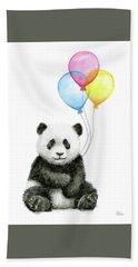 Baby Panda Watercolor With Balloons Hand Towel