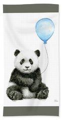 Baby Panda With Blue Balloon Watercolor Hand Towel