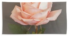 Baby Pink Rose On Gray Hand Towel