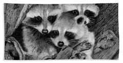 Baby Raccoons Bath Towel