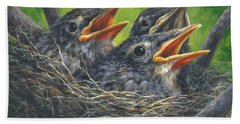 Hand Towel featuring the painting Baby Robins by Kim Lockman