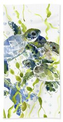 Baby Sea Turtles In The Sea Hand Towel