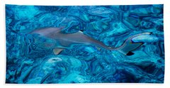 Baby Shark In The Turquoise Water. Production By Nature Hand Towel