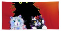 Bath Towel featuring the painting Baby Wu, Baby Moo, And Snowflake Dizzycats by DC Langer