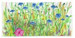 Hand Towel featuring the painting Bachelor Button Meadow by Cathie Richardson
