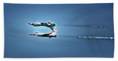 Hand Towel featuring the photograph Back To Back Thunderbirds Over The Beach by Bill Swartwout Fine Art Photography