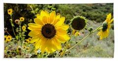 Backlit Sunflower Aka Helianthus Bath Towel