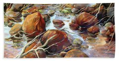 Bath Towel featuring the painting Backwater Sticks And Stones by Rae Andrews