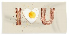 Bacon And Egg I Heart You Watercolor Hand Towel