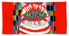 Bath Towel featuring the painting Bad Cattitude by Kathleen Sartoris