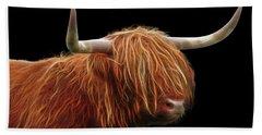 Bad Hair Day - Highland Cow - On Black Bath Towel by Gill Billington