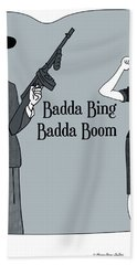 Hand Towel featuring the digital art Badda Bing Blue by Megan Dirsa-DuBois