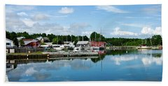 Baddeck Harbor Panorama Hand Towel