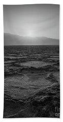 Badwater Basin Salt Flats Sunset Bw Bath Towel