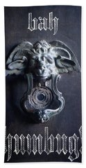 Bath Towel featuring the photograph Bah Humbug Griffin Door Knocker by Suzanne Powers