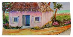 Bath Towel featuring the painting Bahamian Shack Painting by Patricia Piffath