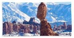 Hand Towel featuring the digital art Balanced Rock  Arches National Park by Kai Saarto