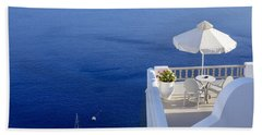 Balcony Over The Sea Bath Towel