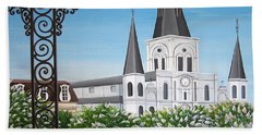 Balcony View Of St Louis Cathedral Hand Towel