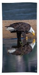 Bald Eagle And Reflection Bath Towel