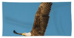 Bald Eagle Fly-by Bath Towel by Jeff at JSJ Photography