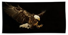 Bald Eagle On Black Bath Towel