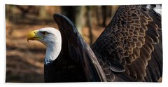 Bald Eagle Preparing For Flight Bath Towel