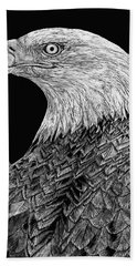 Bald Eagle Scratchboard Hand Towel