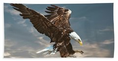 Bald Eagle Swooping Bath Towel