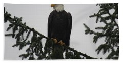 Bald Eagle Watching Bath Towel