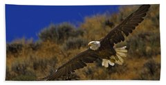 Bath Towel featuring the photograph Bald Eagle Wing Spread-signed by J L Woody Wooden