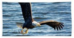Bald Eagle With Fish Hand Towel