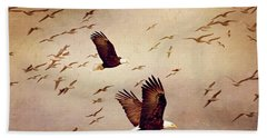 Bald Eagles And Seagulls Hand Towel