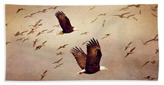 Bath Towel featuring the photograph Bald Eagles And Seagulls by Peggy Collins