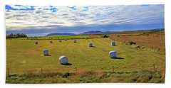 Bales Of Hay For The Animals Near Reykjavik, Iceland Hand Towel by Allan Levin