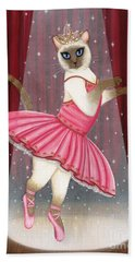 Ballerina Cat - Dancing Siamese Cat Hand Towel
