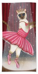 Hand Towel featuring the painting Ballerina Cat - Dancing Siamese Cat by Carrie Hawks