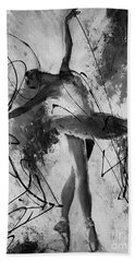Ballerina Dance Black And White  Bath Towel by Gull G