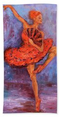 Hand Towel featuring the painting Ballerina Dancing With A Fan by Xueling Zou