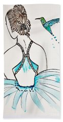 Bath Towel featuring the painting Ballerina  Hummingbird Love by Jasna Gopic