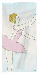 Bath Towel featuring the drawing Ballerina In Pink by Rosalie Scanlon
